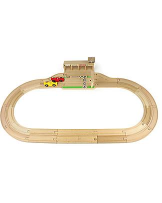 Ikonic Toys Pista per Macchinine in Legno – Compatibile con piste di altri marchi! Macchine e Trenini  in Legno