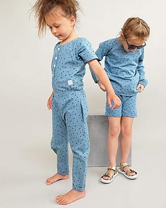 Indikidual Edamame, Tuta in Jeans Chiaro con Stampa Chicchi di Riso - 100% cotone Tutine Lunghe Senza Piedi