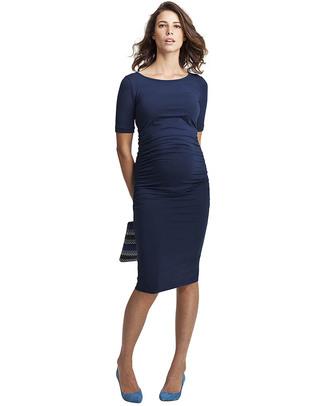 Isabella Oliver Abito Premaman Elegante con Ruches - Blu Vestiti