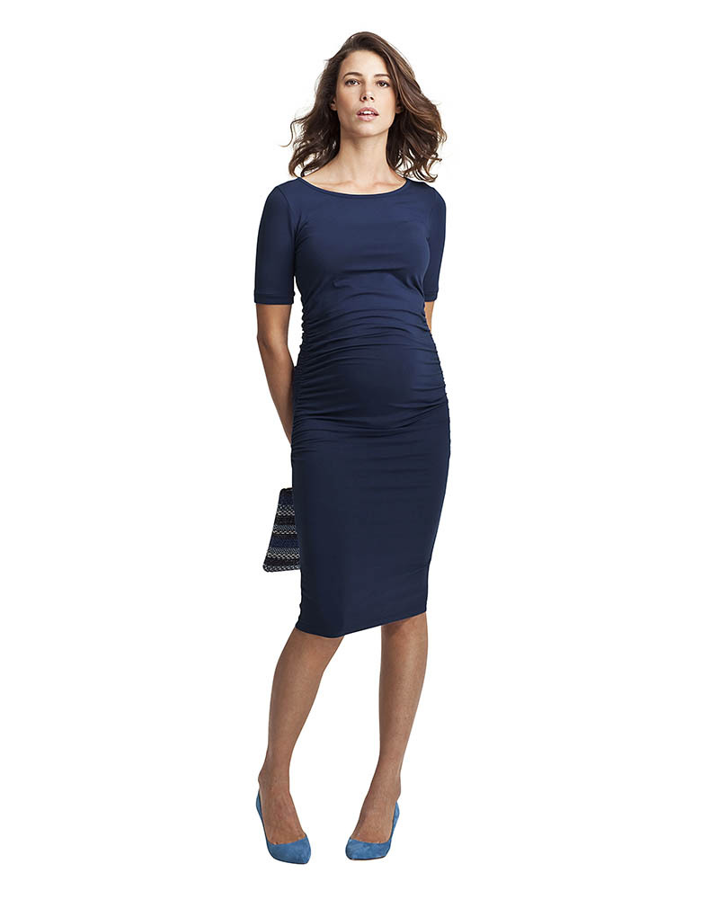 online store c9c32 c4325 Isabella Oliver Abito Premaman Elegante con Ruches - Blu donna