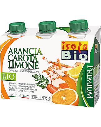 Isola Bio Succo e Polpa Premium, Arancia Carota e Limone, 3x200 ml – 100% Bio, in brick Succhi Bio
