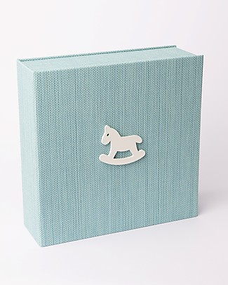 Italian Creative Book Scatola dei Ricordi ed Album Fotografico, Azzurro con Cavallo - 19x19 cm Album Dei Ricordi