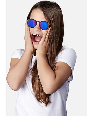 Izipizi Sun Junior Modello #C, Tartaruga Lenti Azzurre a Specchio - Taglia unica da 4 a 10 anni! Occhiali