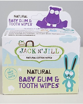 Jack 'n Jill Salviette in Cotone Denti e Gengive per Bambini, 25 p - Naturali e Sicure! Salviette Bimbo