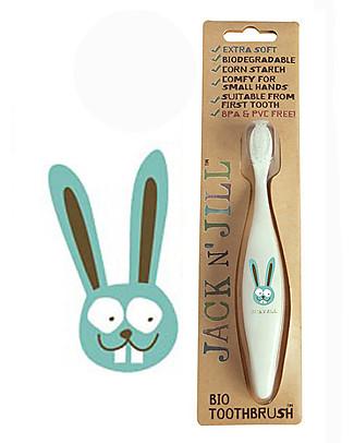 Jack 'n Jill Spazzolino per Bambini, Bunny il Coniglietto - Manico Biodegradabile Dentifricio e Spazzolini