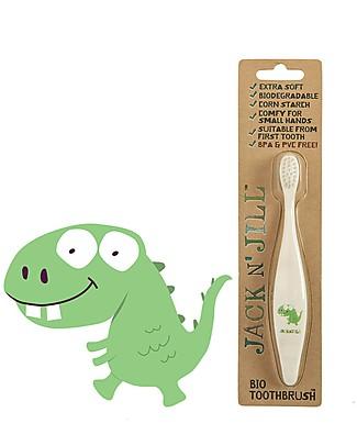 Jack 'n Jill Spazzolino per Bambini, Dino il Dinosauro - Manico Biodegradabile Dentifricio e Spazzolini