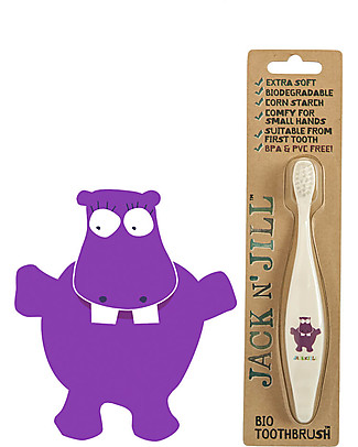 Jack 'n Jill Toothbrush for Kids, Hippo - Biodegradable Handle Toothpaste and Toothbrush