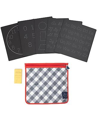 Jaq Jaq Bird Lavagnetta Giochi da Viaggio con Gessetti Zero Polvere, Educational - Lettere, Numeri, Forme e Ore Giochi da Viaggio