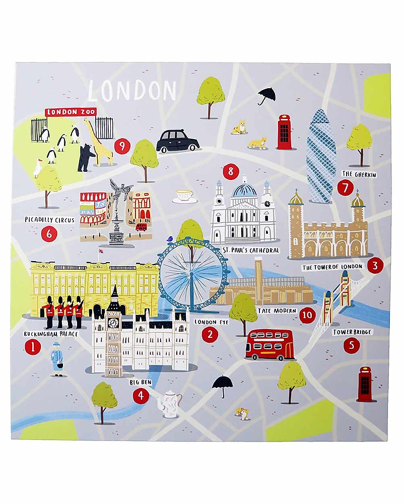 Cartina Londra Con Monumenti.Jaq Jaq Bird Set Di Adesivi Cities Of Wonder Londra Include Una Mappa Della Citta Unisex Bambini