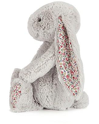 JellyCat Peluche Coniglietto Lunghe Orecchie con Fiori, Argento - 31 cm - Morbidissimo e dolce Peluche