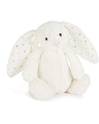 JellyCat Peluche Coniglietto Lunghe Orecchie Luccicanti, Bianco (Medium) - 31 cm - Morbidissimo e dolce Peluche