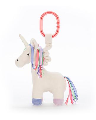 JellyCat Peluche Unicorno Lollopylou con Effetto Tremolio- 15 cm - Si appende al passeggino! Sonagli