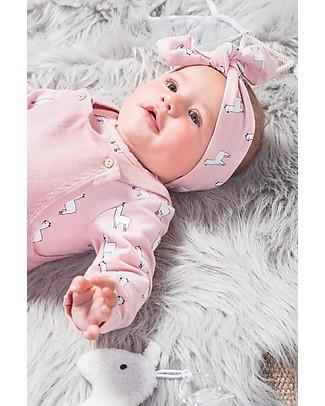 Jollein Baby Fascia per Capelli con Fiocco Lama, Rosa - Cotone Biologico Fermacappelli