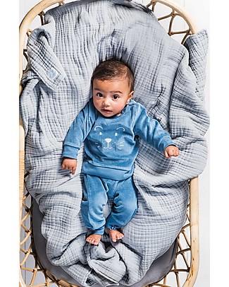 Jollein Baby Pantaloni Lunghi in Ciniglia, Azzurro - Cotone Biologico Pantaloni Lunghi