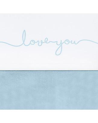 Jollein Lenzuolo per Lettino Love You, Bianco e Azzurro - 120x150 cm - 100% cotone Lenzuola
