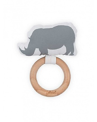 Jollein Massaggiagengive in legno e cotone Safari, Rinoceronte Grigio Massaggiagengive