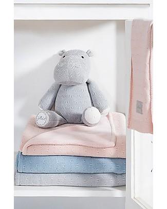 Jollein Pupazzo Ippopotamo con Lavorazione a Maglia, Grigio - Morbidissimo e sicuro per i neonati Pupazzi Crochet