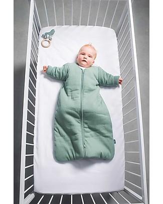 Jollein Sleeping Bag 4-seasons with Removable Sleeves, Rib Forest Green - 110 cm Warm Sleeping Bags