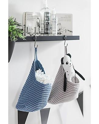 Jollein Wall Storage Bag, Heavy knit  - Blue - 27x20 cm Toy Storage Boxes