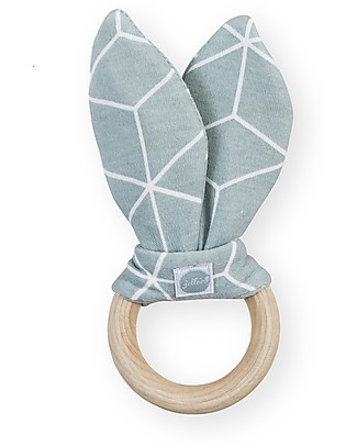Jollein Wooden Teething Ring with Cotton Decoration Graphic, Stone Green Teethers