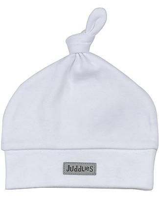 Juddlies Designs Cappellino Baby Essentials, 0-4 mesi, Bianco - 100% Cotone Biologico Cappelli