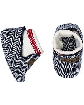 Juddlies Designs Scarpine Baby, Cottage Collection, Blu/Rosso - 100% Cotone Bio Scarpe