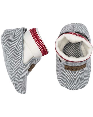 Juddlies Designs Scarpine Baby, Cottage Collection, Grigio/Rosso - 100% Cotone Bio Scarpe