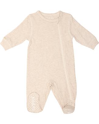 Juddlies Designs Tutina Breathe-Eze con Piedini Antiscivolo, Ecrù - 100% cotone, il caldo che respira Tutine Lunghe Con Piedi