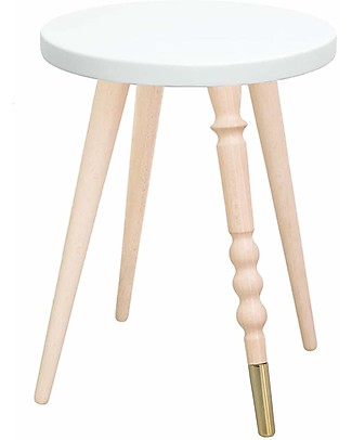 Jungle by Jungle Sgabello/Tavolino My Lovely Ballerine – Bianco – Faggio e Ottone – Alto 37 cm – Diametro 30 cm Tavoli