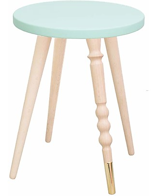 Jungle by Jungle Sgabello/Tavolino My Lovely Ballerine – Menta – Faggio e Ottone – Alto 37 cm – Diametro 30 cm Sedie