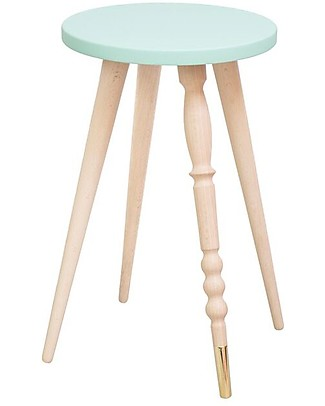 Jungle by Jungle Sgabello/Tavolino My Lovely Ballerine – Menta – Faggio e Ottone – Alto 47 cm – Diametro 30 cm Sedie