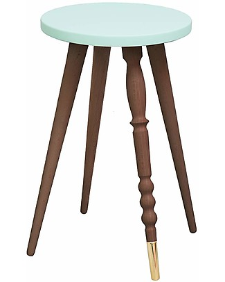Jungle by Jungle Sgabello/Tavolino My Lovely Ballerine – Menta – Noce e Ottone – Alto 47 cm – Diametro 30 cm Tavoli