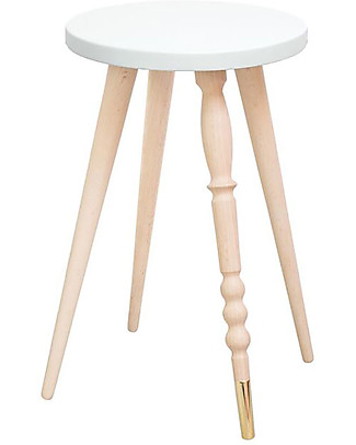 Jungle by Jungle Sgabello/Tavolino My Lovely Ballerine - Bianco - Faggio e Ottone - Alto 47 cm - Diametro 30 cm Tavoli