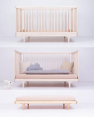 Kalon Studios Caravan Crib Lettino Acero Naturale Non Oliato - Convertibile 0-6 anni  Lettini Con Sbarre