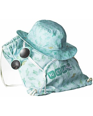 Ki et La Cappellino da Sole Bambino + Occhiali da Sole + Sacca da Spiaggia -0-18 Mesi - Fantasia Kaktus Cappelli