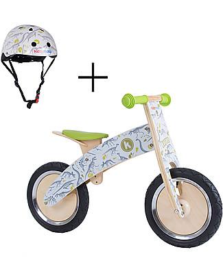 Kiddimoto Bici Senza Pedali in legno Kurve con Casco, Dinosauri Biciclette Senza Pedali