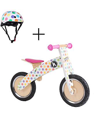Kiddimoto Bici Senza Pedali in legno Kurve con Casco, Pois Pastello Biciclette Senza Pedali