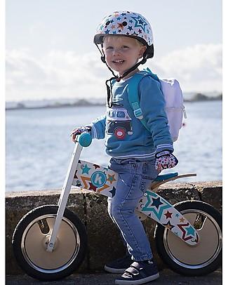 Kiddimoto Bici Senza Pedali in legno Kurve con Casco, Stelle Biciclette Senza Pedali