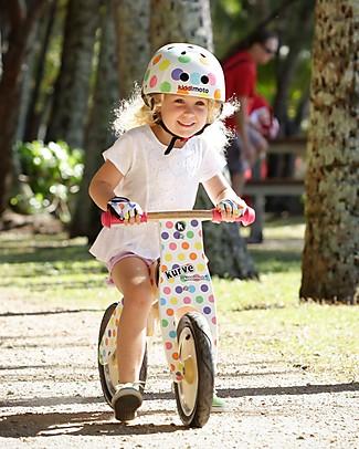 Kiddimoto Bici Senza Pedali in legno Kurve con Elmetto, Pois Pastello Biciclette Senza Pedali