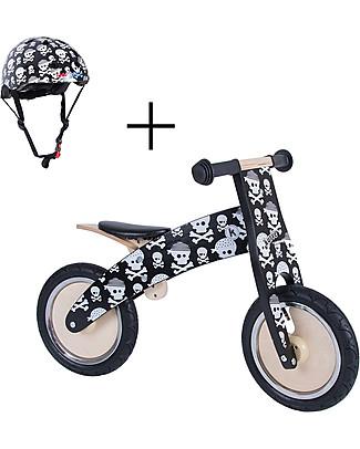 Kiddimoto Bici Senza Pedali in legno Kurve con Elmetto, Teschi Biciclette Senza Pedali