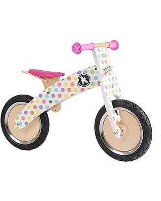 Kiddimoto Bici Senza Pedali in Legno Kurve, Pois Pastello Biciclette Senza Pedali