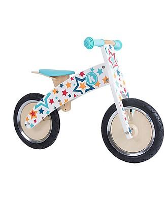 Kiddimoto Bici Senza Pedali in Legno Kurve, Stelle Biciclette Senza Pedali