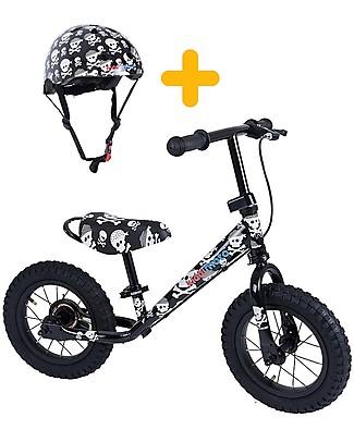 Kiddimoto Bici Senza Pedali Super Junior Maxi con Casco, Teschi Biciclette Senza Pedali