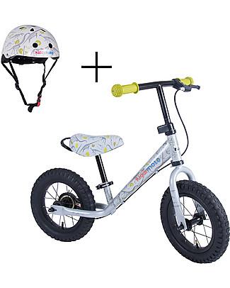 Kiddimoto Bici Senza Pedali Super Junior Maxi con Elmetto, Dinosauri Biciclette Senza Pedali