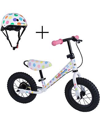Kiddimoto Bici Senza Pedali Super Junior Maxi con Elmetto, Pois Biciclette Senza Pedali