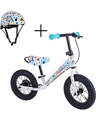 Kiddimoto Bici Senza Pedali Super Junior Maxi con Elmetto, Stelle Biciclette Senza Pedali