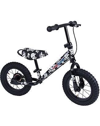 Kiddimoto Bici Senza Pedali Super Junior Maxi con Elmetto, Teschi Biciclette Senza Pedali