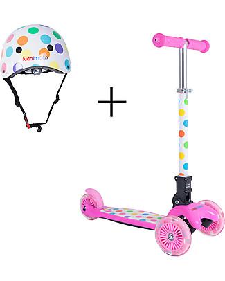 Kiddimoto Monopattino Tre Ruote Pieghevole U-Zoom con Elmetto, Pois Pastello Biciclette Senza Pedali