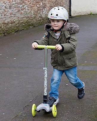 Kiddimoto Monopattino Tre Ruote Pieghevole U-Zoom, Dinosauri Biciclette Senza Pedali