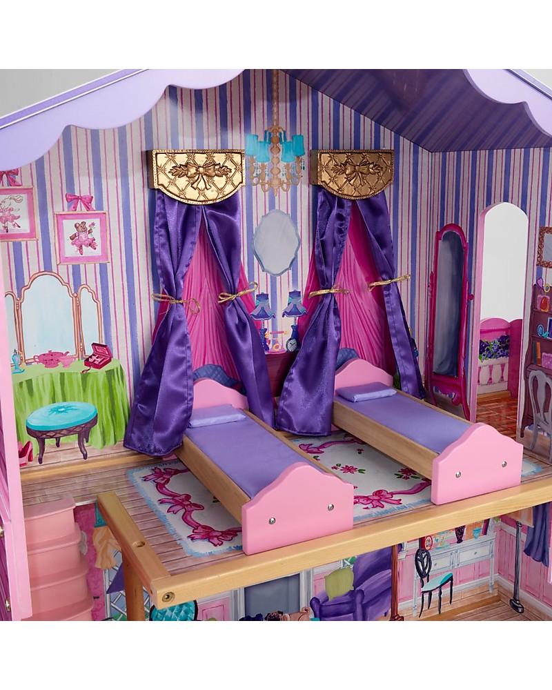 Letto A Baldacchino Rosa.Kidkraft Casa Delle Bambole In Legno My Dream Mansion Con Letti